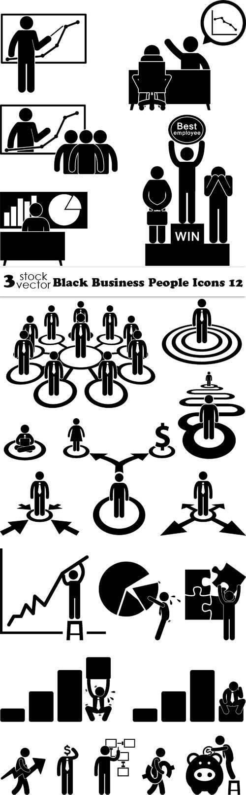 Векторы – черный, бизнес, люди, иконки 12