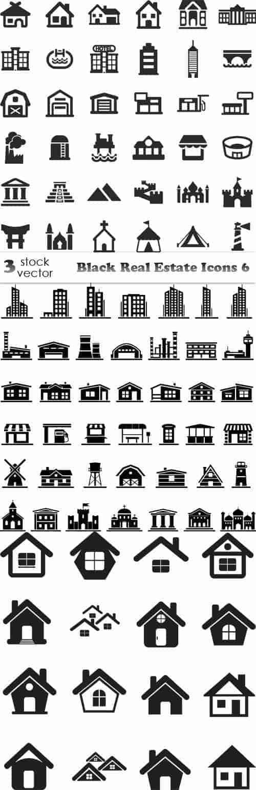 Вектор – черные иконки недвижимости