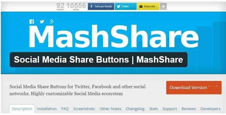Кнопки Поделиться в Соц Медиа | MashShare