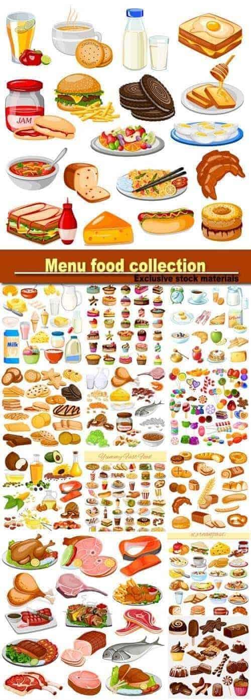 Вектор – Продовольственный набор меню завтрака, конфеты, молочный продукт, мясной продукт.