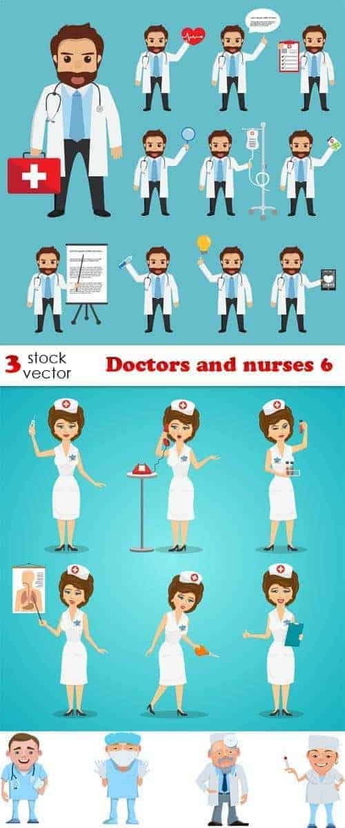 Вектор – врачи и медсестры 6
