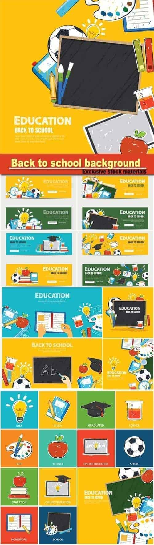 Вектор – Баннер Образование и снова в школу фон