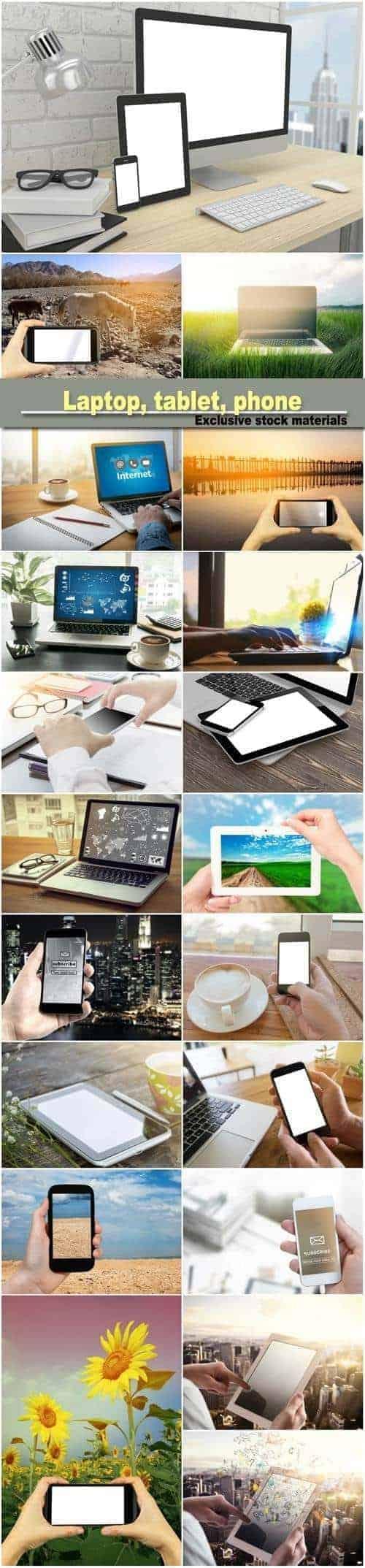 Ноутбук, планшет, телефон на столе в офисе