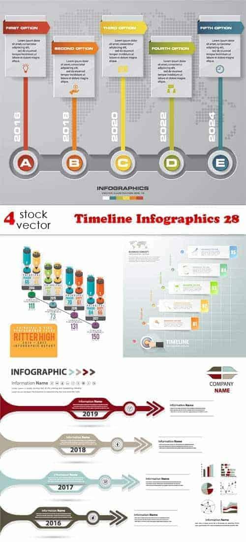Векторы – Временная шкала Инфографика  28