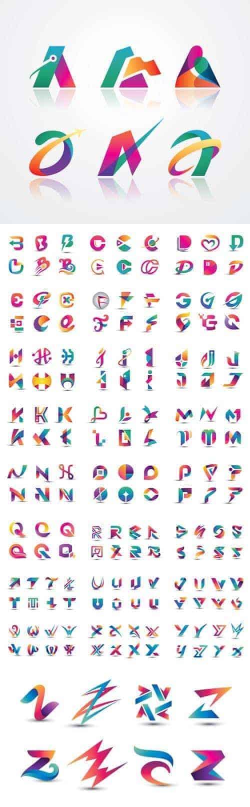 Векторные Абстрактные Красочные Логотипы Букв