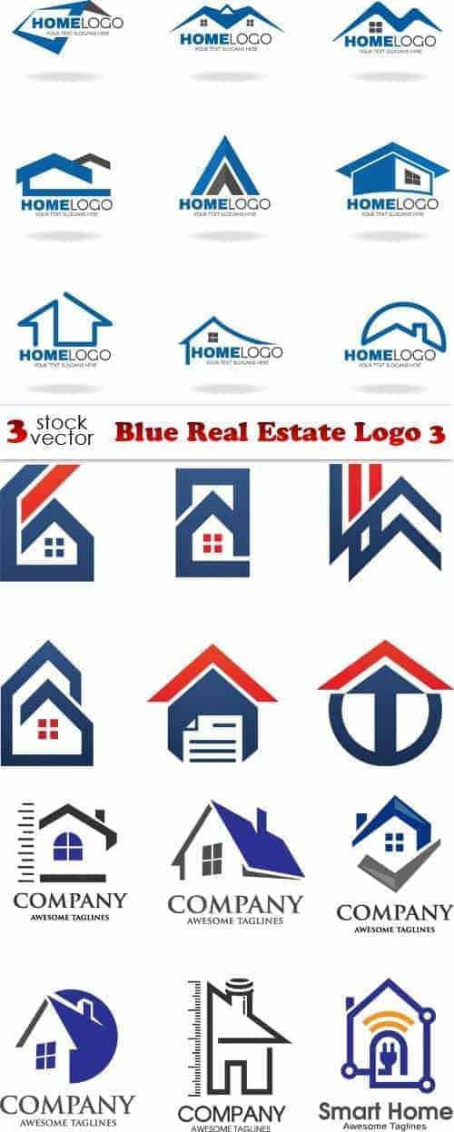 Вектор – Синий Логотип Недвижимого имущества 3