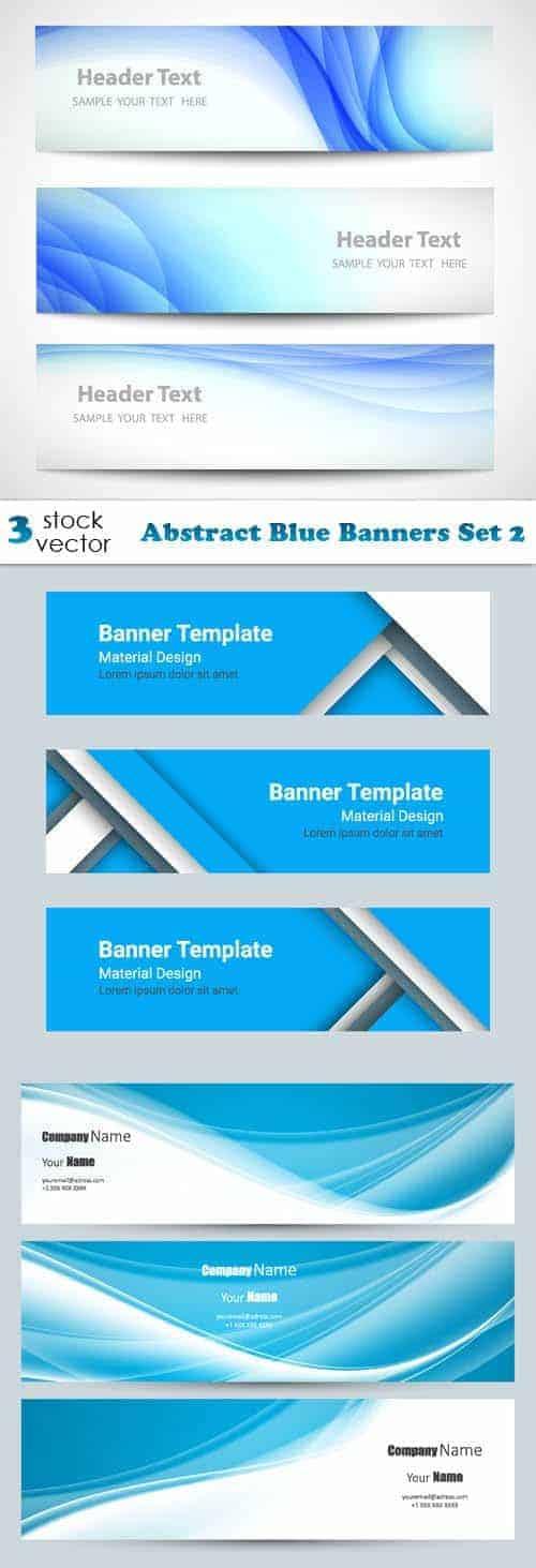 Векторы – Абстрактный Синий Набор Баннеров 2