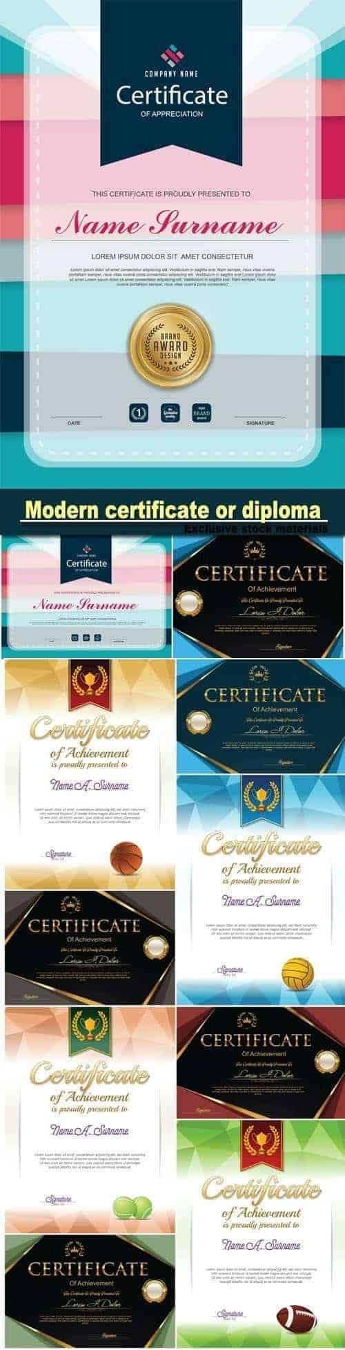 Модерн шаблон сертификат или диплом