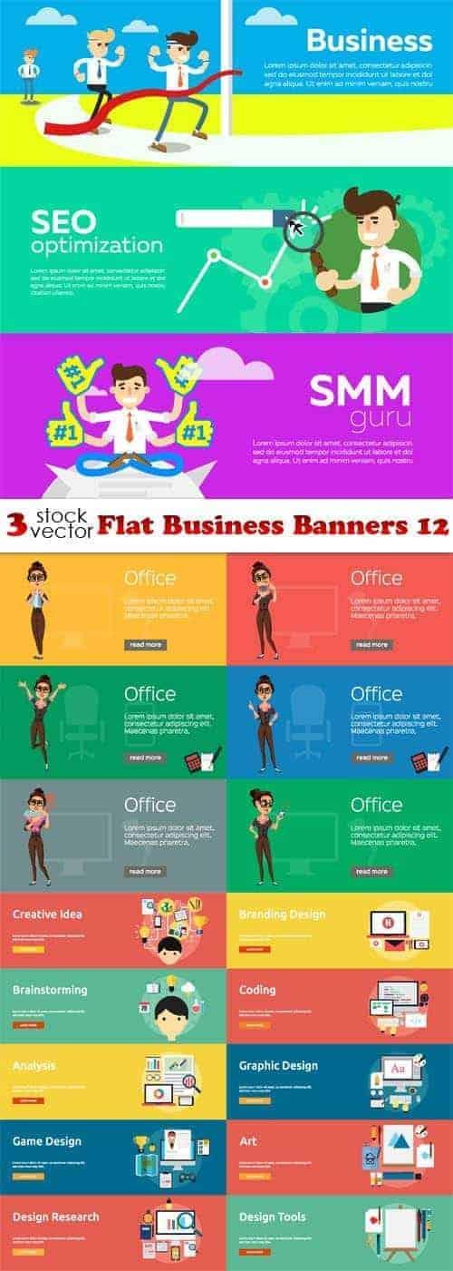 Вектор – плоские бизнес баннеры 12