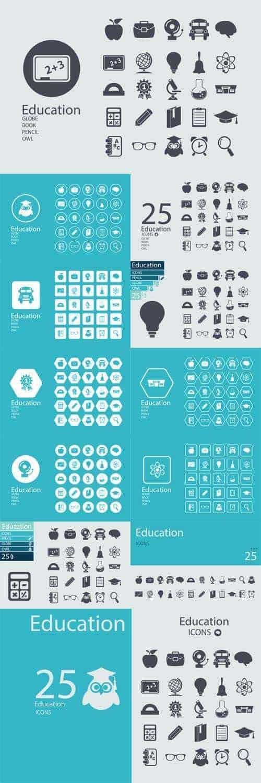 Векторные иконки концепция плоский дизайн для образования