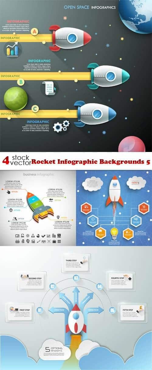 Вектор – Ракета инфографика стола 5