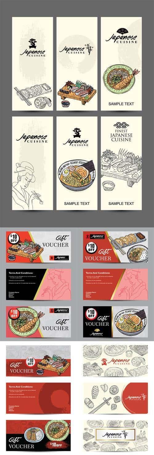 Векторный набор – баннеры шаблон с рисованной японской кухней