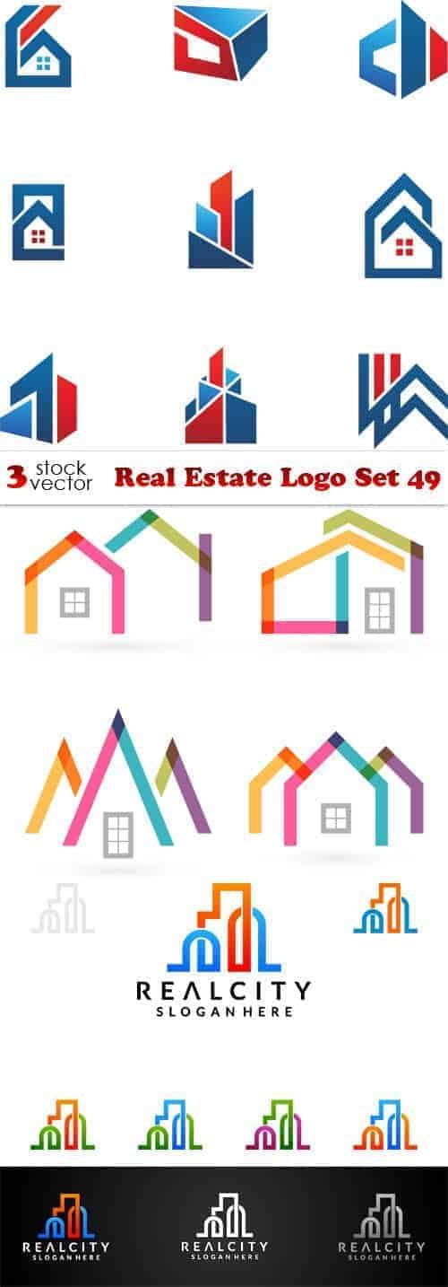 Вектор — логотип агенства недвижимости — набор 49