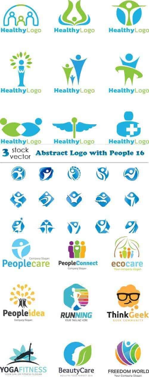 Вектор – Шаблоны абстрактных логотипов с людьми 16