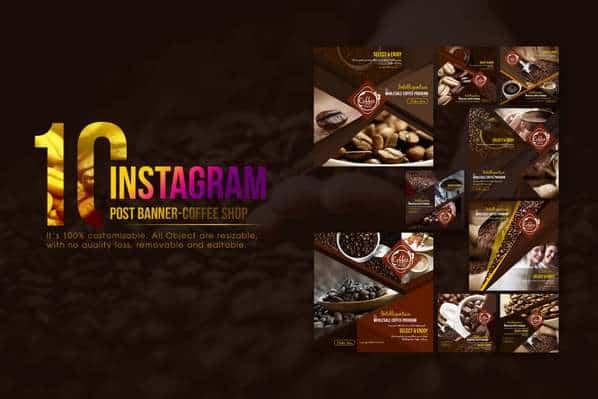 10 Instagram Пост Баннер — Магазин Кофе