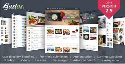Gustos – Управляемые сообществом Рецепты, Тема WordPress