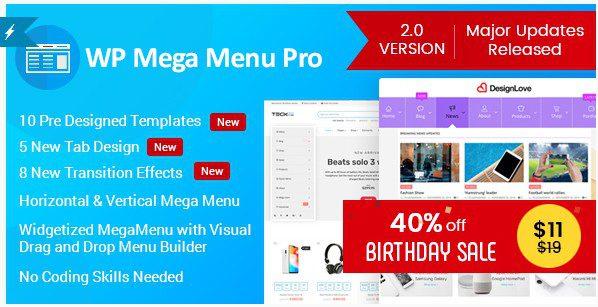 WP Mega Menu Pro - Адаптивное мега меню для WordPress