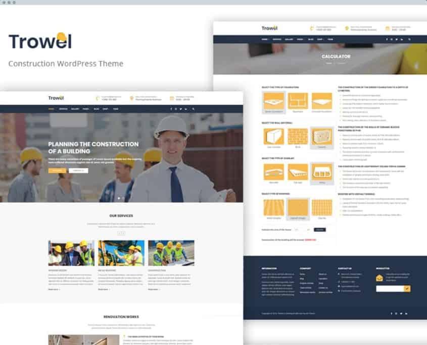 Trowel - Адаптивный WordPress шаблон на тему строительных компаний