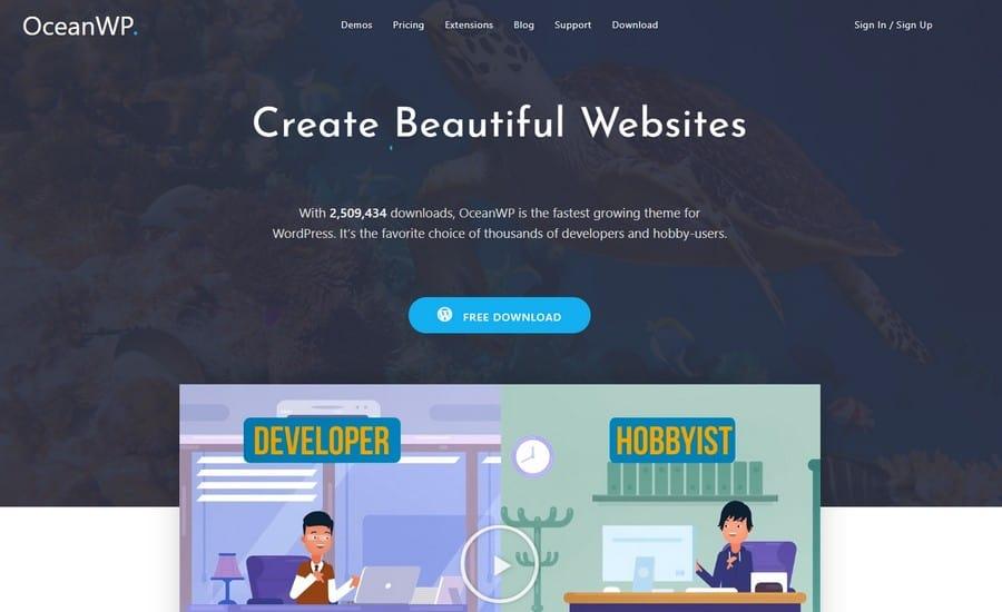 OceanWP – бесплатная многоцелевая тема WordPress + Премиум расширения.