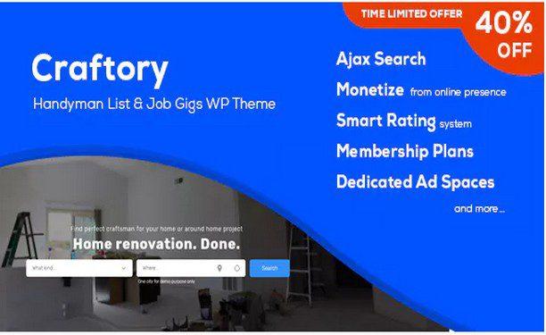 Craftory - Каталог объявлений о работе, биржа фриланс WordPress тема