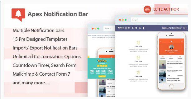Apex Notification Bar - Адаптивная панель уведомлений плагин WordPress