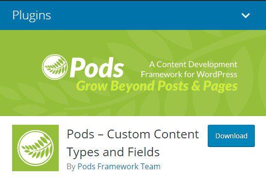 Pods - Пользовательские типы контента и полей.