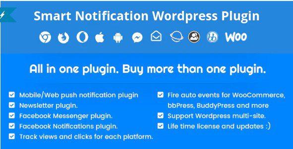 Smart Notification Wordpress Plugin. Web & Mobile Push, FB Messenger, FB Notification & Newsletter.