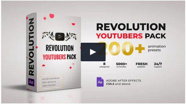 Revolution Youtubers Pack VideoHive – Пакет из 25 Видео-заставок и элементов.