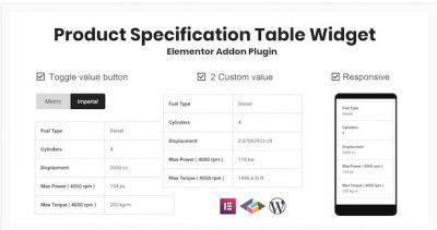 Product Specification Table Widget For Elementor – Виджет таблицы спецификаций продукта