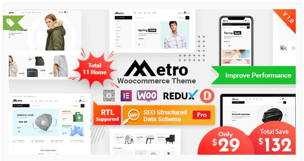 Metro v1.8.2 - Minimal WooCommerce WordPress Theme
