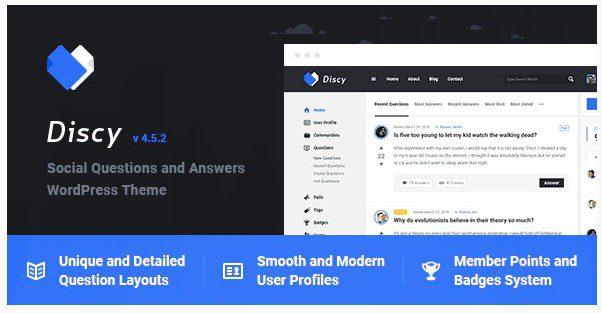 Discy - тема WordPress для соц вопросов и ответов