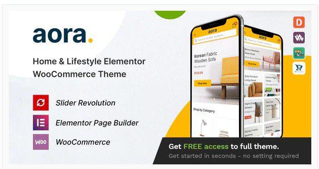 Aora v1.1.0 - Тема WooCommerce Elementor для дома и образа жизни