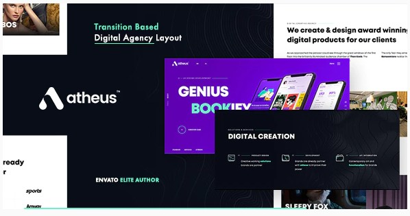 Atheus - тема WordPress для современного креативного агентства
