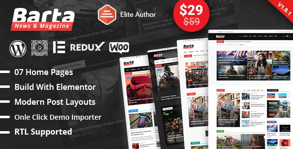 Barta v2.0 - WordPress тема для новостей и журналов
