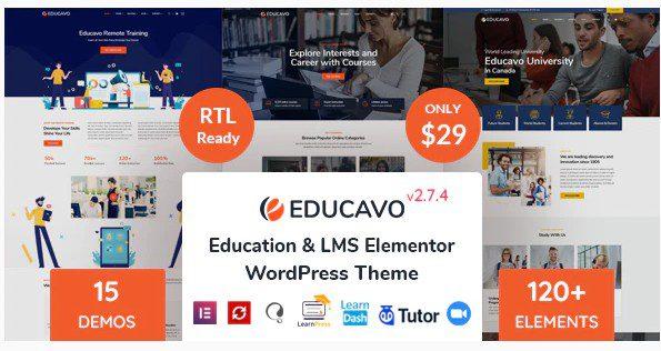 Educavo - WordPress тема для онлайн-курсов и образования