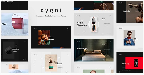 Cygni - тема интерактивной витрины портфолио