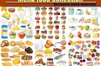 Вектор — Продовольственный набор меню завтрака, конфеты, молочный продукт, мясной продукт.