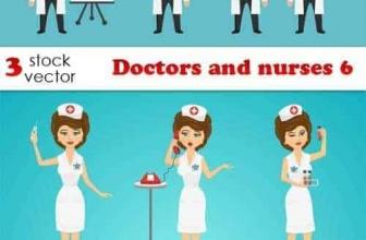 Вектор — врачи и медсестры 6