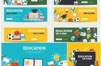 Вектор — Баннер Образование и снова в школу фон
