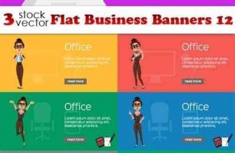 Вектор — плоские бизнес баннеры 12