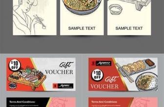 Векторный набор — баннеры шаблон с рисованной японской кухней
