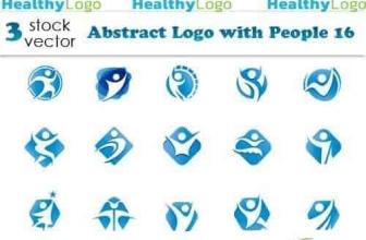 Вектор — Шаблоны абстрактных логотипов с людьми 16