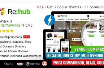 REHub — Партнерский маркетинг, магазин нескольких поставщиков, тема сообщества