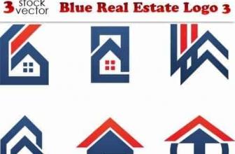 Вектор — Синий Логотип Недвижимого имущества 3