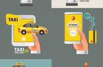 Вектор — Такси ON LINE. Знак Такси. Услуги Такси по SMART PHONE